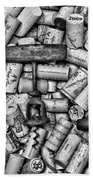 Vintage Barrel Taps And Cork Screw Black And White Beach Towel