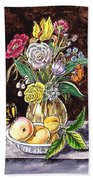 Vintage Bouquet With Fruits And Butterfly  Beach Towel