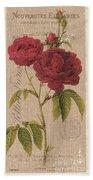 Vintage Burlap Floral 3 Beach Sheet