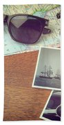 Vintage Camera And Map Beach Towel
