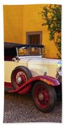 Vintage Car In Funchal, Madeira Beach Towel
