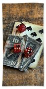 Vintage Cards Dice And Cash Beach Towel