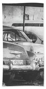 Vintage Cars At Night Bw Beach Towel