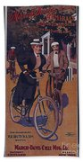 Vintage Cycle Poster March Davis Cycle 100 Dollars Beach Towel