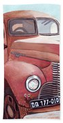 Vintage Fire Truck Watercolor Painting In A Local Scrapyard Beach Towel