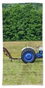 Vintage Ford Blue And White Tractor On A Farm Beach Towel