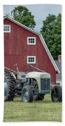Vintage Ford Farm Tractor With Red Barn Beach Towel