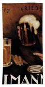 Vintage German Beer Advertisement, Friends Drinking Bier Beach Towel