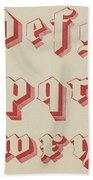 Vintage Gothic Font Red Beach Towel