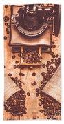 Vintage Grinder With Sacks Of Coffee Beans Beach Towel