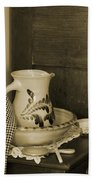 Vintage Grooming Set And Stoneware Water Pitcher In Sepia Tones Beach Towel