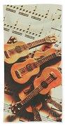 Vintage Guitars On Music Sheet Beach Towel