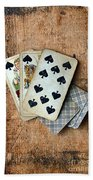 Vintage Hand Of Cards Beach Towel