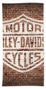 Vintage Harley Davidson Logo Painted On Old Brick Wall Beach Towel