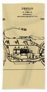 Vintage Harley-davidson Motorcycle 1919 Patent Artwork Beach Towel by Nikki Smith