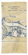 Vintage Harley-davidson Motorcycle 1924 Patent Artwork Beach Towel