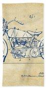 Vintage Harley-davidson Motorcycle 1928 Patent Artwork Beach Towel