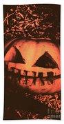 Vintage Horror Pumpkin Head Beach Towel