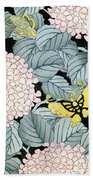 Vintage Japanese Illustration Of A Hydrangea Blossoms And Butterflies Beach Towel