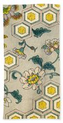 Vintage Japanese Illustration Of Blossoms On A Honeycomb Background Beach Towel