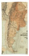 Vintage Map Of Argentina - 1882 Beach Towel