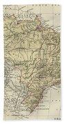 Vintage Map Of Brazil - 1889 Beach Towel