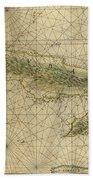 Vintage Map Of Cuba - 1639 Beach Towel