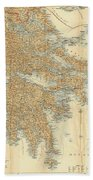 Vintage Map Of Greece - 1894 Beach Towel