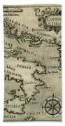 Vintage Map Of Italy And Greece - 1587 Beach Towel