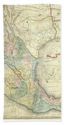 Vintage Map Of Mexico - 1847 Beach Towel