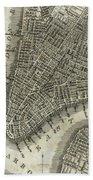 Vintage Map Of New York City - 1842 Beach Towel