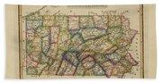 Antique Map Of Pennsylvania Beach Towel