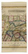 Antique Map Of Pennsylvania Beach Towel