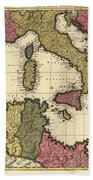 Vintage Map Of The Mediterranean - 1695 Beach Towel