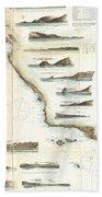 Vintage Map Of The U.s. West Coast - 1853 Beach Towel