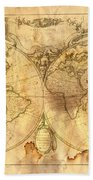 Vintage Map Of The World Beach Towel by Michal Boubin