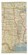 Vintage Map Of United States, 1883 Beach Towel