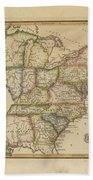 Antique Map Of United States Beach Towel