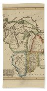 Antique Map Of Upper Territories Of The United States Beach Towel