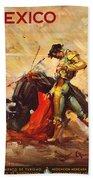 Vintage Mexico Bullfight Travel Poster Beach Towel