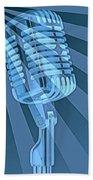 Vintage Microphone Pop Art Beach Towel