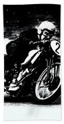 Vintage Motorcycle Racer Beach Towel