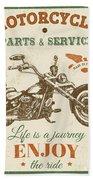 Vintage Motorcycling Mancave-c Beach Towel