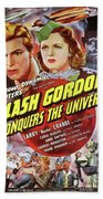 Vintage Movie Posters, Flash Godon Conquers The Universe Beach Towel