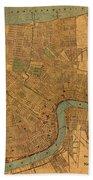 Vintage New Orleans Louisiana Street Map 1919 Retro Cartography Print On Worn Canvas Beach Towel