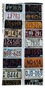 Vintage Number Plates Beach Towel