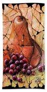 Vintage  Pear And Grapes Fresco   Beach Towel