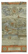 Vintage Pictorial Map Of Lyon France - 1555 Beach Towel