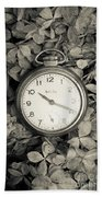 Vintage Pocket Watch Over Flowers Beach Towel