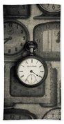 Vintage Pocket Watch Over Old Clocks Beach Sheet